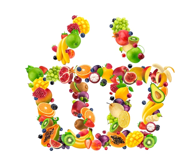 Ikona koszyka na zakupy ze świeżych owoców i jagód na białym tle