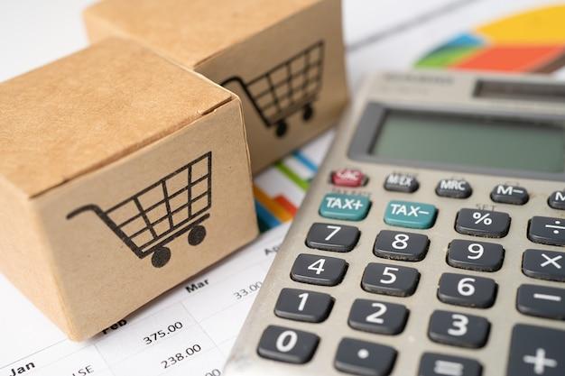 Ikona koszyka zakupów na pudełku z kalkulatorem