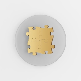 Ikona łamigłówki zapinane na złoto. 3d renderowania szary okrągły przycisk klucza, element interfejsu użytkownika interfejsu użytkownika.