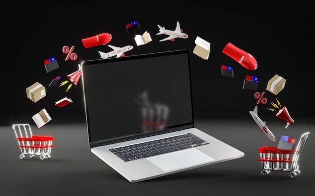 Ikona laptopa na czarny piątek
