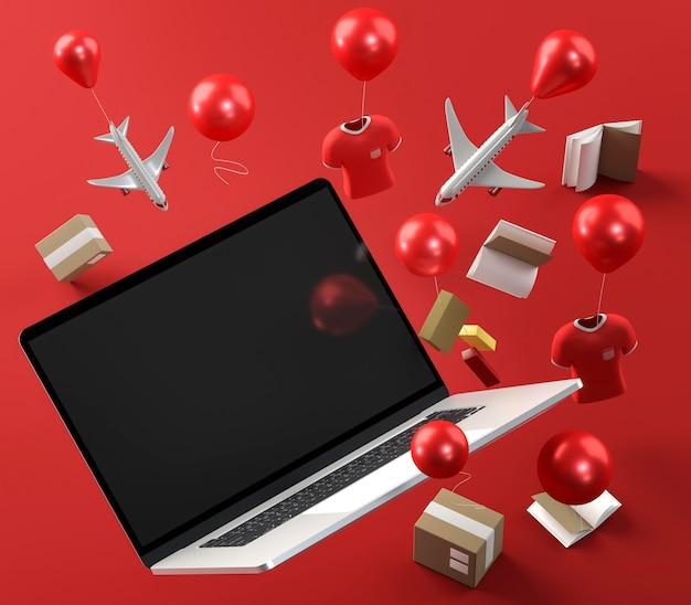 Ikona laptopa na wydarzenie sprzedaży w czarny piątek