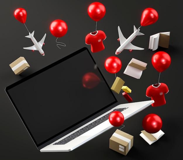 Ikona laptopa na zakupy w czarny piątek