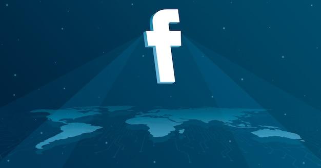 Ikona logo facebook na mapie świata 3d