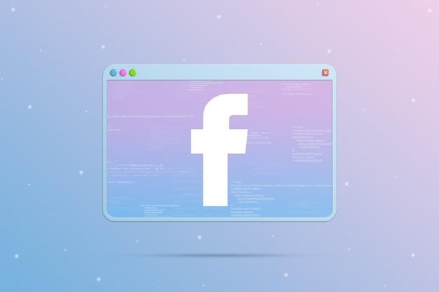 Ikona logo facebook w oknie przeglądarki z elementami kodu programu 3d