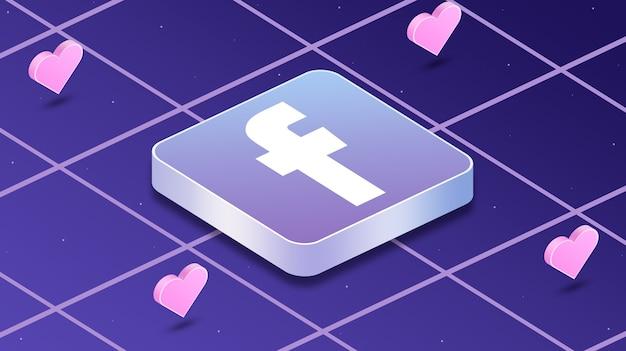Ikona logo facebook z sercami wokół 3d
