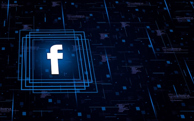 Ikona logo facebooka na tle technologicznym z elementami kodu