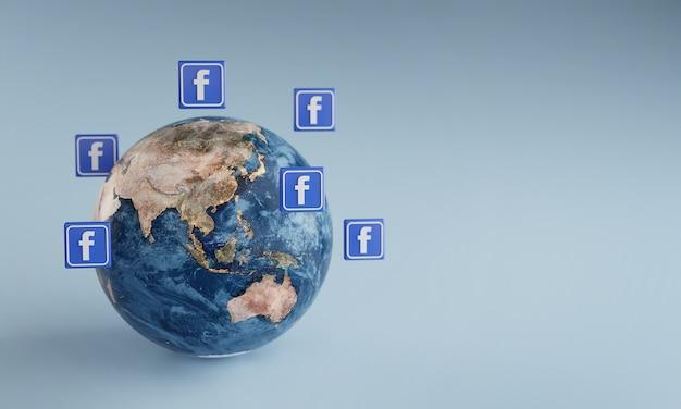 Ikona logo facebooka wokół ziemi. popularna koncepcja aplikacji.