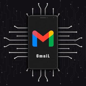 Ikona logo gmaila na ekranie telefonu na tle technologii 3d