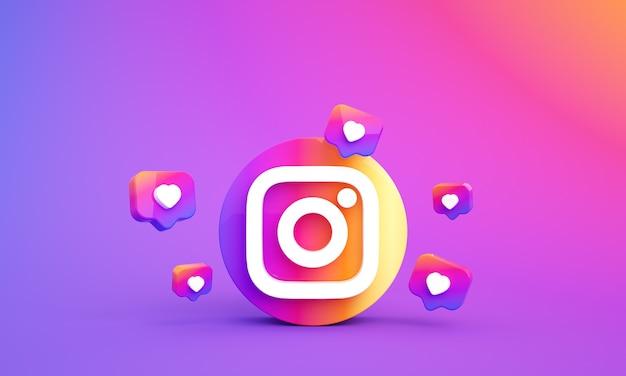 Ikona logo instagram dla mediów społecznościowych z miejscem na kopię 3d zdjęcie premium
