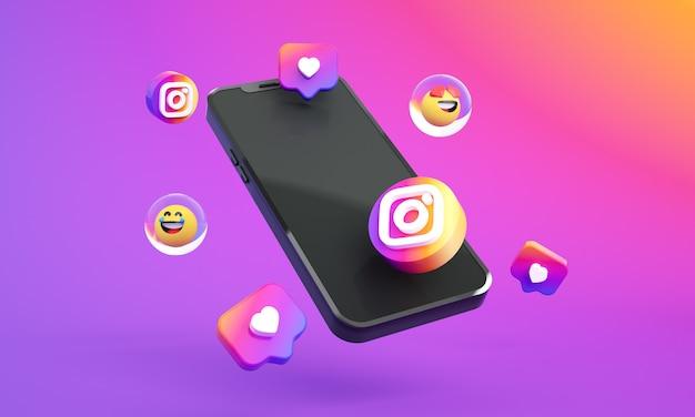 Ikona logo instagram na smartfonie 3d zdjęcie premium