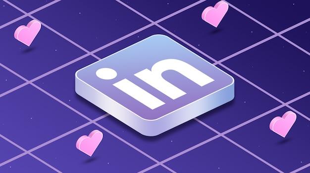Ikona logo linkedin z sercami wokół 3d