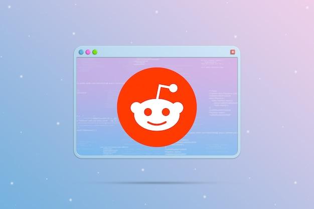 Ikona logo reddit w oknie przeglądarki z elementami kodu programu 3d