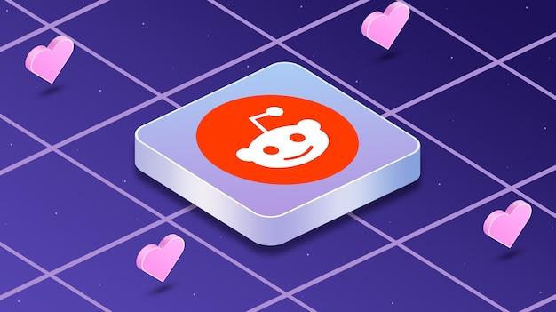 Ikona logo reddit z sercami wokół 3d