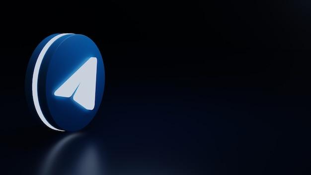 Ikona logo telegramu 3d świeci wysokiej jakości renderowanie