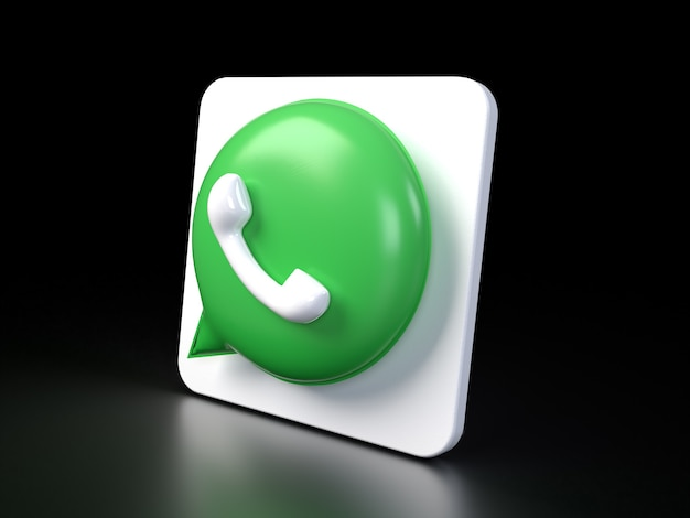Ikona logo whatsapp koło 3d zdjęcie premium 3d błyszczący, matowy rendering