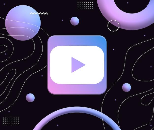 Ikona logo youtube na tle estetycznych neonowych kształtów 3d