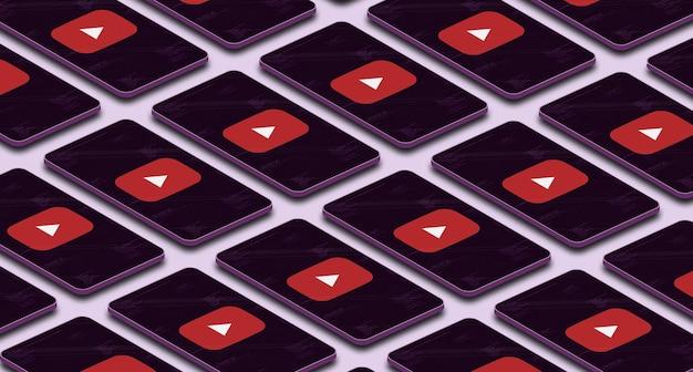 Ikona logo youtube na wielu telefonach z ekranem 3d