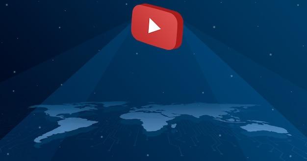 Ikona logo youtube na wszystkich kontynentach mapy świata 3d