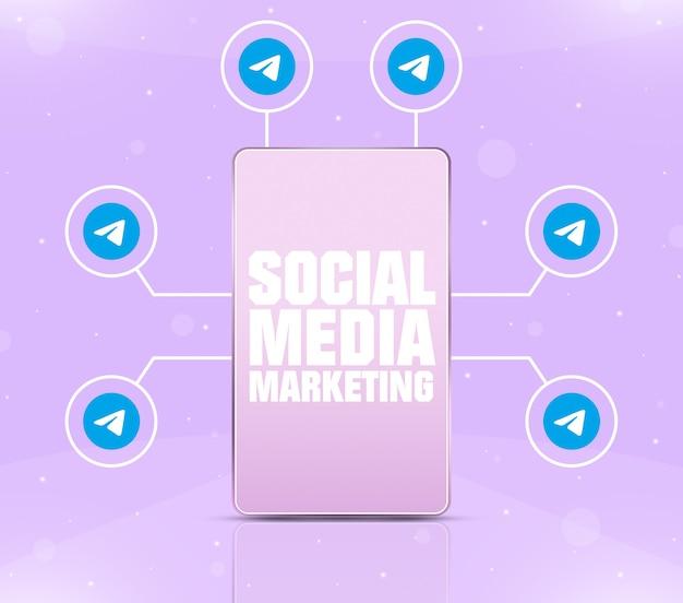 Ikona marketingu mediów społecznościowych na ekranie telefonu z ikonami telegramu wokół 3d