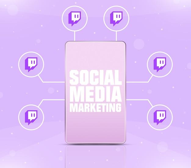 Ikona marketingu w mediach społecznościowych na ekranie telefonu z ikonami drgań wokół 3d
