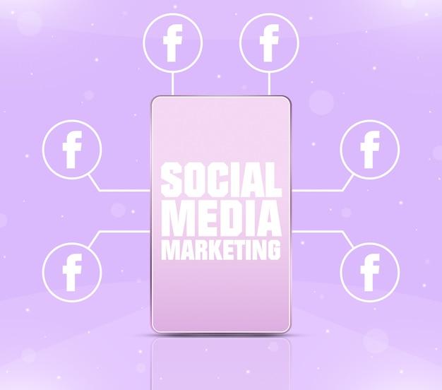 Ikona marketingu w mediach społecznościowych na ekranie telefonu z ikonami facebooka wokół 3d