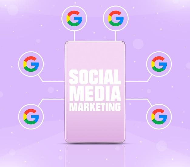 Ikona marketingu w mediach społecznościowych na ekranie telefonu z ikonami google wokół 3d