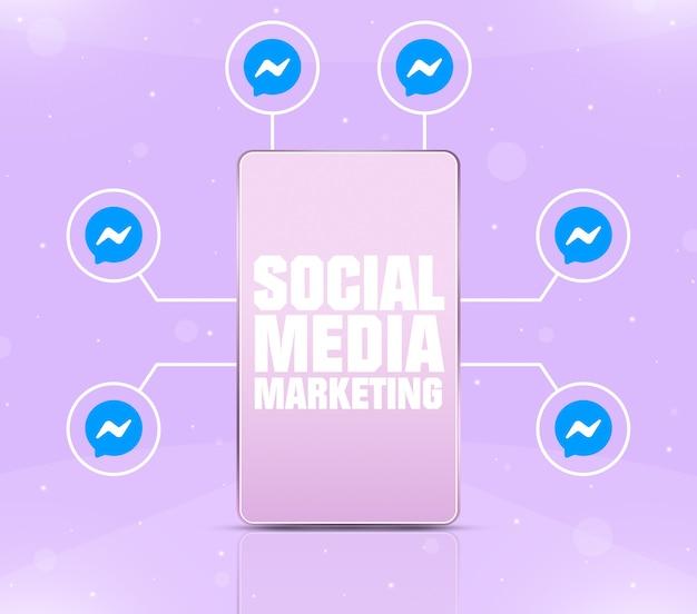 Ikona marketingu w mediach społecznościowych na ekranie telefonu z ikonami komunikatora wokół 3d