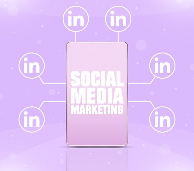 Ikona marketingu w mediach społecznościowych na ekranie telefonu z ikonami linkedin wokół 3d