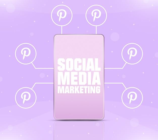 Ikona marketingu w mediach społecznościowych na ekranie telefonu z ikonami pinterest wokół 3d
