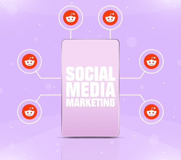 Ikona marketingu w mediach społecznościowych na ekranie telefonu z ikonami reddit wokół 3d
