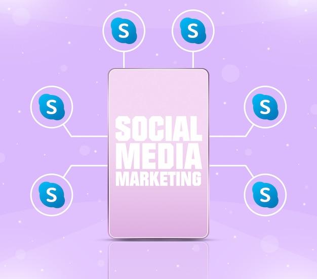 Ikona marketingu w mediach społecznościowych na ekranie telefonu z ikonami skype wokół 3d