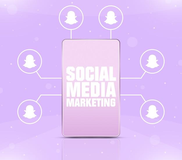 Ikona Marketingu W Mediach Społecznościowych Na Ekranie Telefonu Z Ikonami Snapchat Wokół 3d Premium Zdjęcia