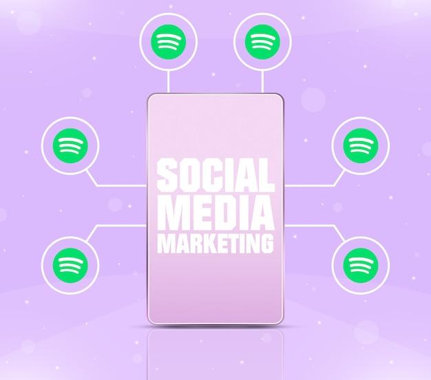 Ikona marketingu w mediach społecznościowych na ekranie telefonu z ikonami spotify wokół 3d