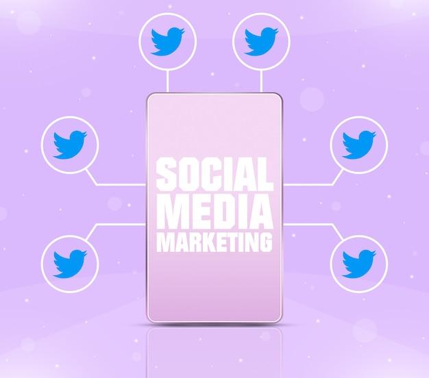 Ikona marketingu w mediach społecznościowych na ekranie telefonu z ikonami twittera wokół 3d