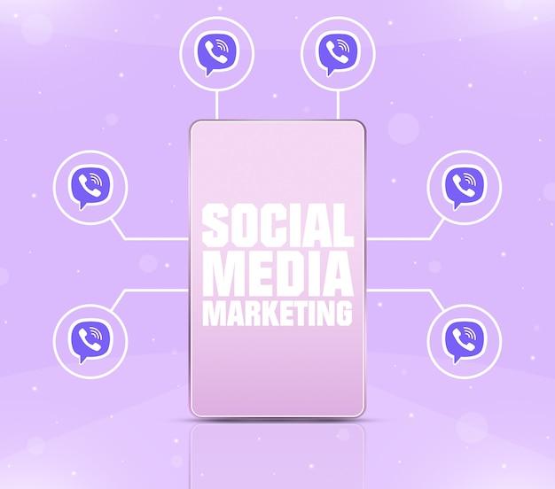 Ikona marketingu w mediach społecznościowych na ekranie telefonu z ikonami wibracji wokół 3d