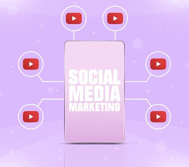 Ikona marketingu w mediach społecznościowych na ekranie telefonu z ikonami youtube wokół 3d