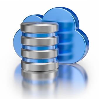 Ikona metalowej bazy danych i niebieska błyszcząca chmura