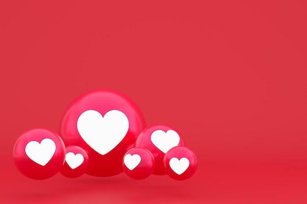 Ikona miłości facebook reakcje emoji renderowania 3d, symbol balonu w mediach społecznościowych na czerwonym tle
