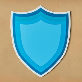Ikona niebieski tarcza ochrony na białym tle