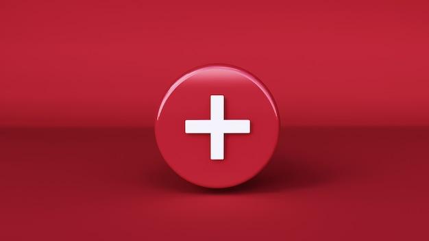 Ikona plus z czerwonym tłem. renderowanie 3d