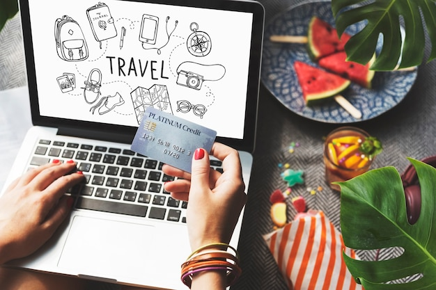 Ikona podróży wakacje koncepcja wakacje