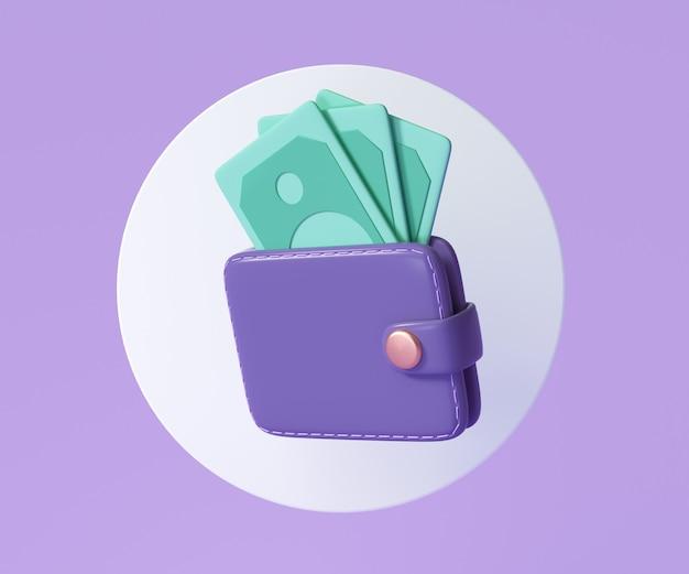 Ikona portfela i banknotów, koncepcja oszczędzania pieniędzy