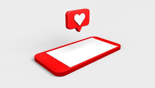 Ikona powiadomienia w mediach społecznościowych z sercem unoszącym się na smartfonie jak ilustracja 3d