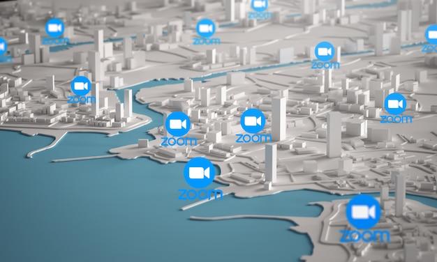 Ikona powiększenia z lotu ptaka renderowania 3d budynków miejskich