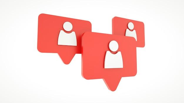 Ikona profilu na czerwonym pin na białym tle. renderowania 3d.