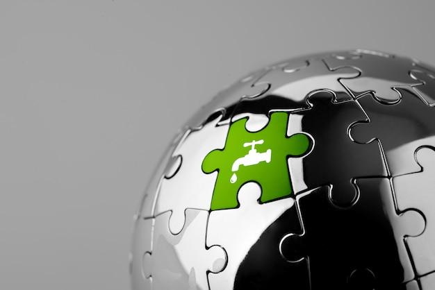 Ikona recyklingu na układance dla ekologicznego i zielonego świata