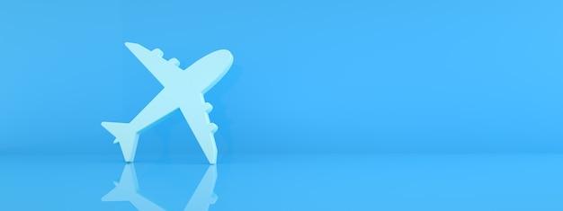 Ikona samolotu na niebieskim tle, koncepcja podróży, renderowanie 3d, makieta panoramiczna
