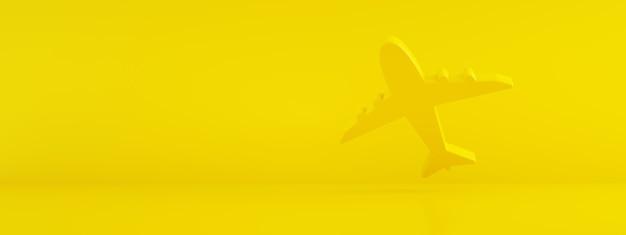 Ikona samolotu na żółtym tle, koncepcja wyszukiwania biletów, renderowanie 3d, makieta panoramiczna