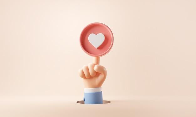 Ikona serca dotykająca dłoni