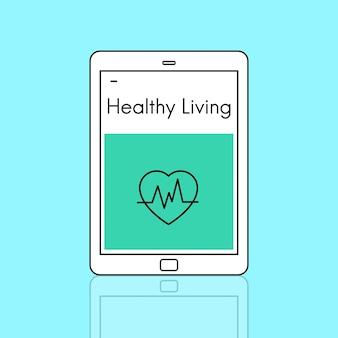 Ikona serca zdrowego życia i odnowy biologicznej